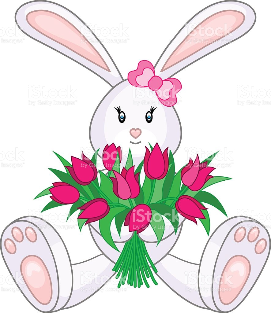 Bunny With Bouquet Of Tulips stock vector art 472083654.