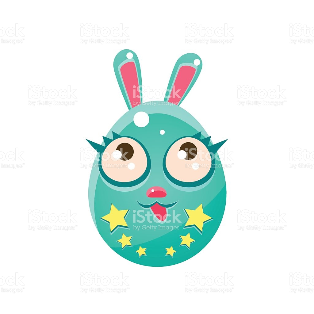 Blue Egg Shaped Easter Bunny With Eyelashes stock vector art.