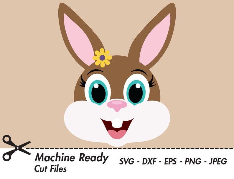 Cute Bunny Rabbit SVG Cut Files, PNG Easter bunny clipart, bunny face clip  art, girl bunny head, spring woodland vector graphic, rabbit ears.