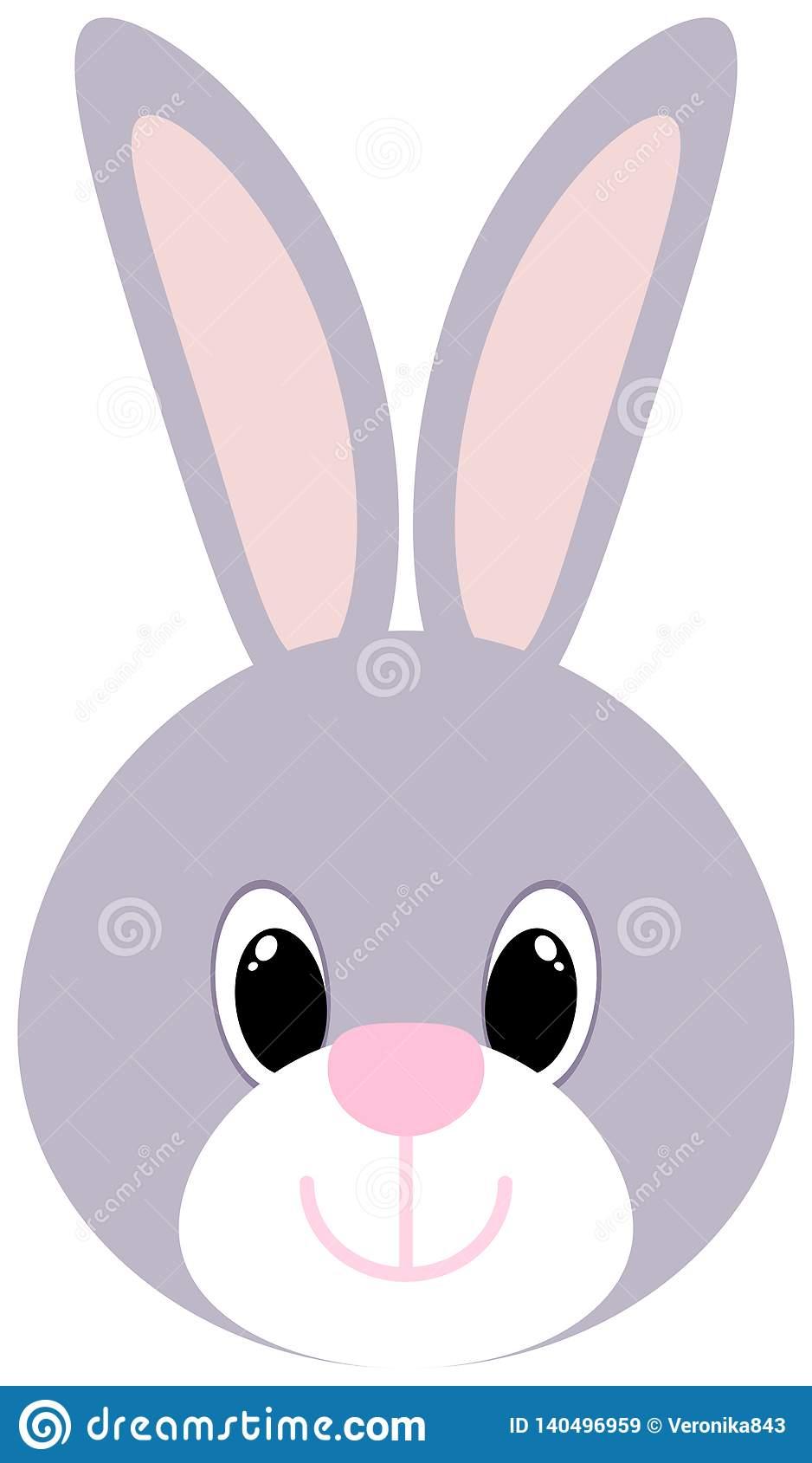 Cartoon Bunny Head Icon. Easter Symbol. Cute Rabbit Clipart Stock.