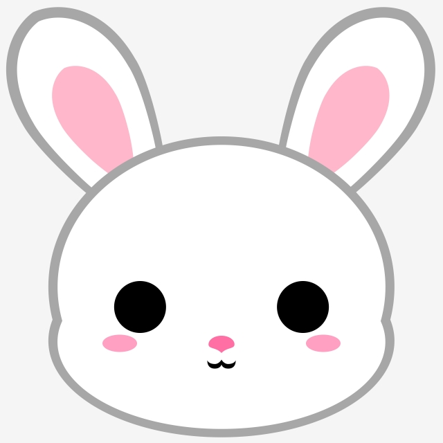 Cartoon White Bunny Head, Bunny, Rabbit, Animal PNG Transparent.