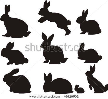 stock vector : Rabbit or Bunnies Silhouette.