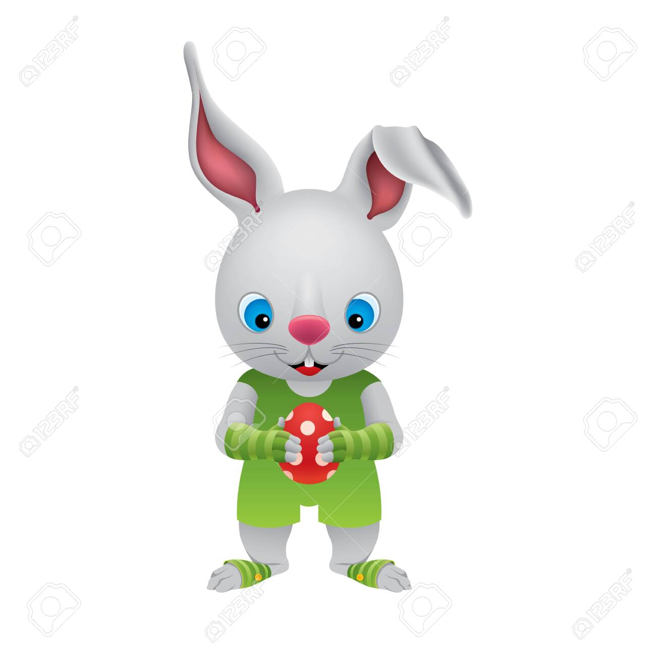 The Easter Bunny holds a red polka dot Easter egg in its paws.