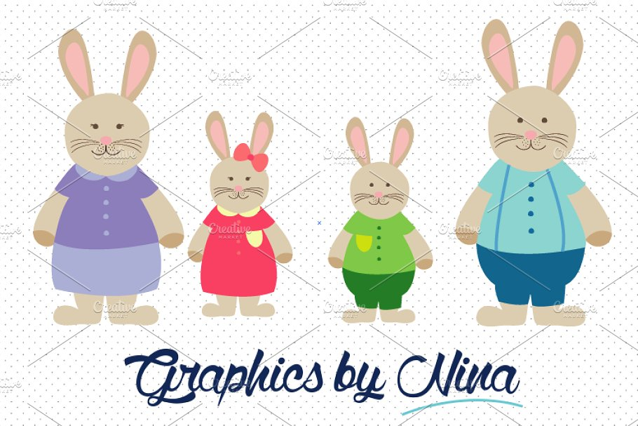 Rabbit Family/Bunny Family Clipart.