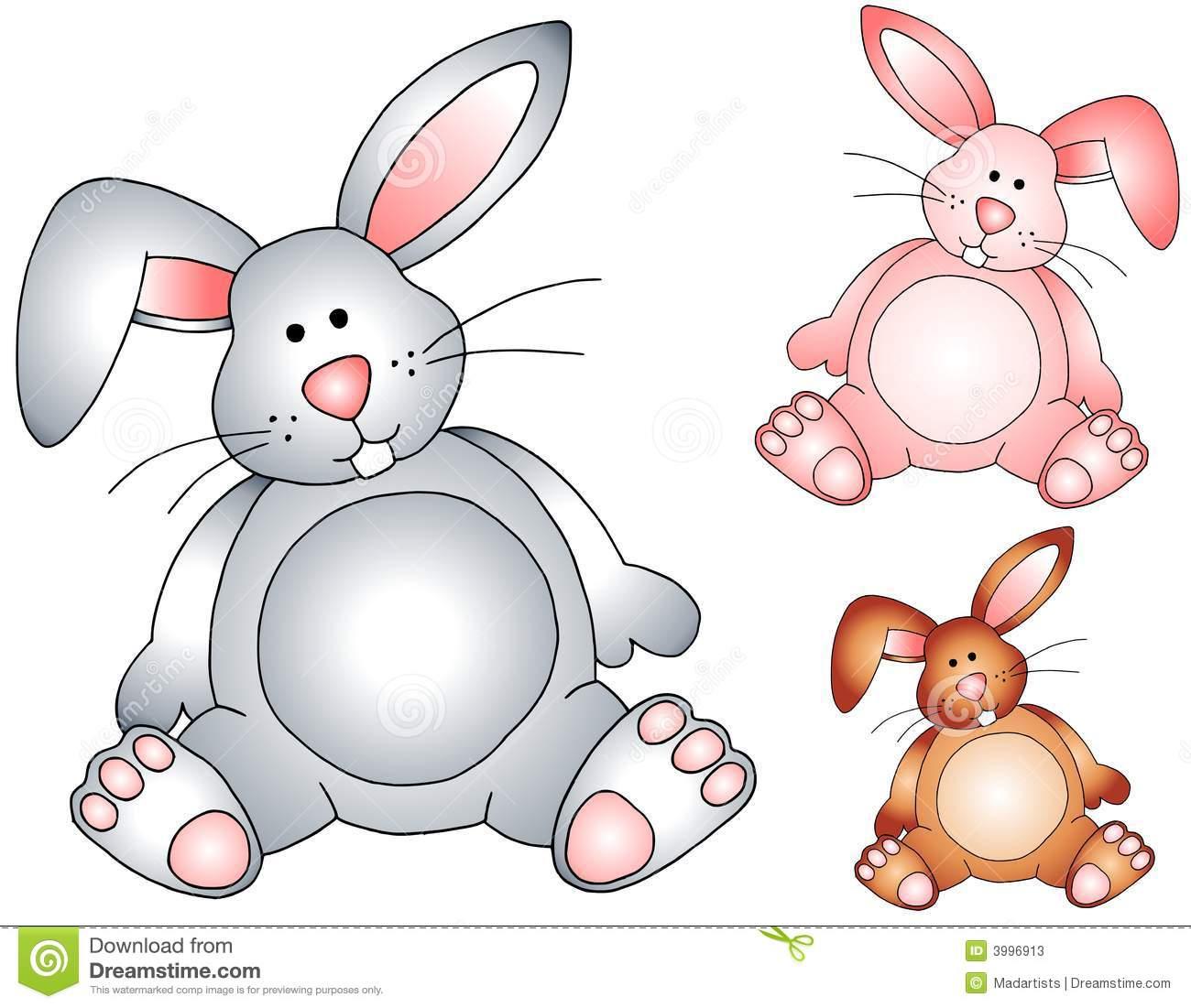 Easter Bunny Rabbits Stuffed Toys Stock Illustration.
