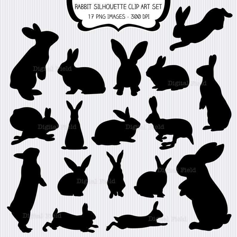 Rabbit Silhouette Clip Art Set.