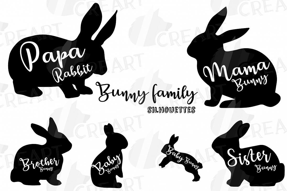 Rabbit family silhouettes, bunny silhouette svg cutting file.