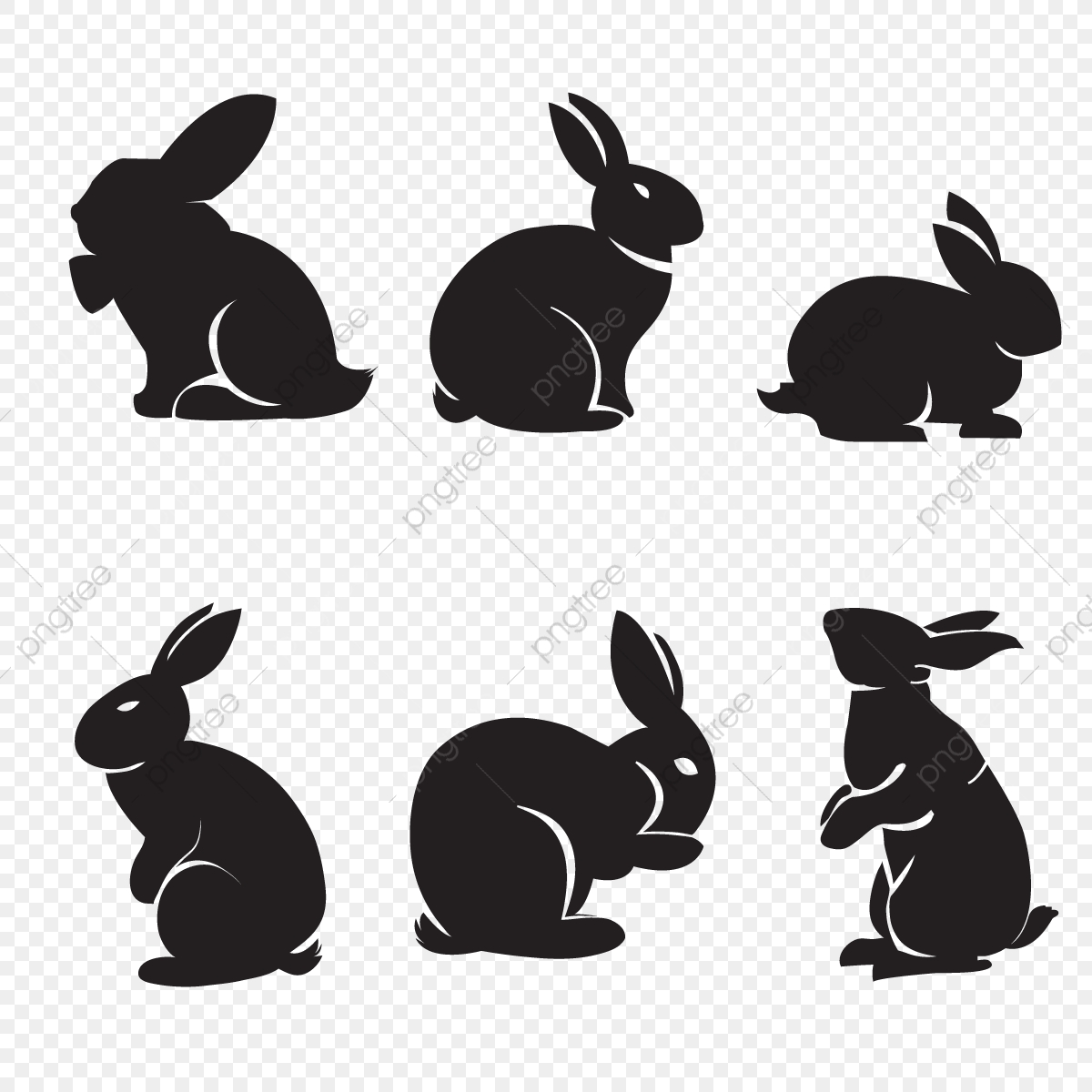 Rabbit Silhouette, Rabbit, Silhouette, Bunny PNG and Vector with.