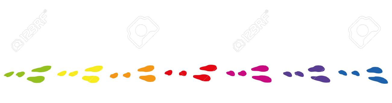 Easter bunny footprints. Colored paws and tracks probably from...
