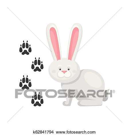 Cute little bunny and his footprints tracks. Mammal animal with long ears.  Zoo theme. Flat vector element for children book Clipart.