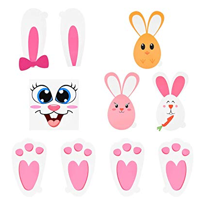 BESTOYARD Easter Bunny Stickers Set with Bunny Footprints Egg Bunny Face  Stickers Floor Decal for Kids Party Birthday Baby Shower Game Garden.
