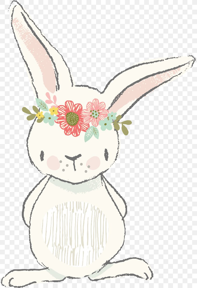 Easter Bunny Clip Art Watercolor Painting Illustration, PNG.