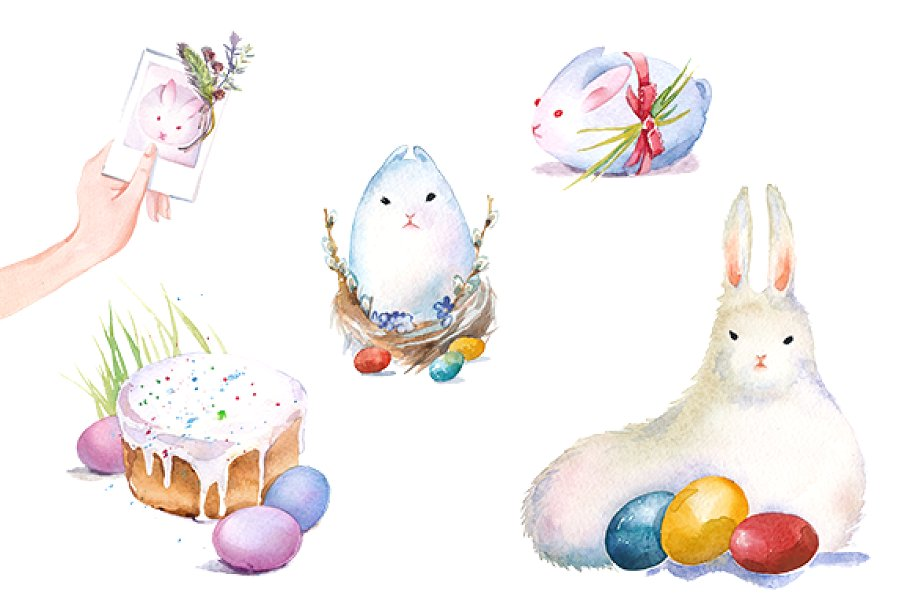 Easter bunny watercolor clipart set.