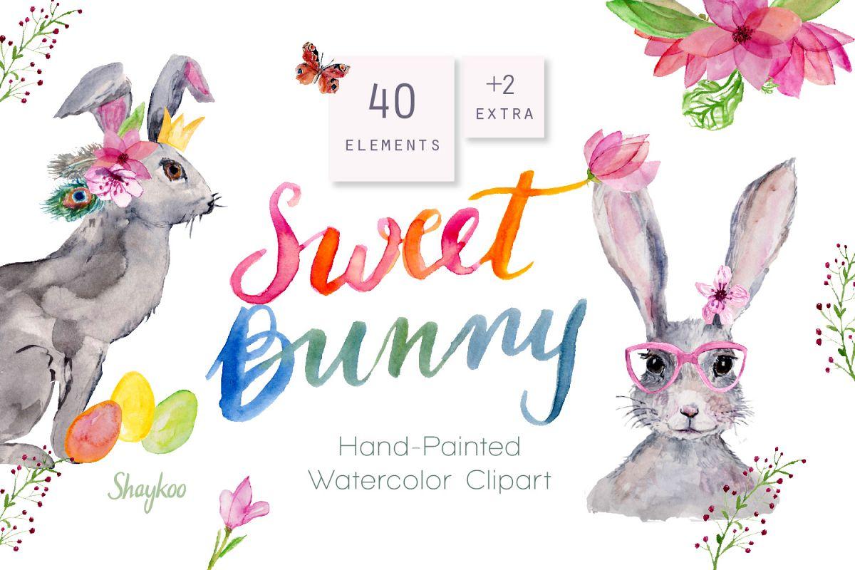 Bunny Watercolor Clipart, Handpainted, Boho, Nursery Bunnies.