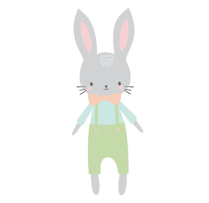 bunny with orange bow tie.