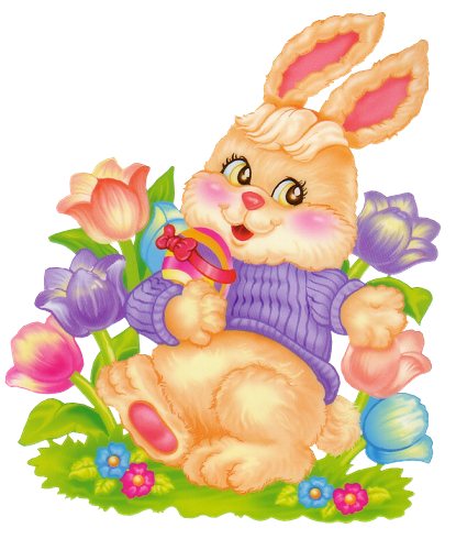 Easter Bunny with Flowers Clipart.