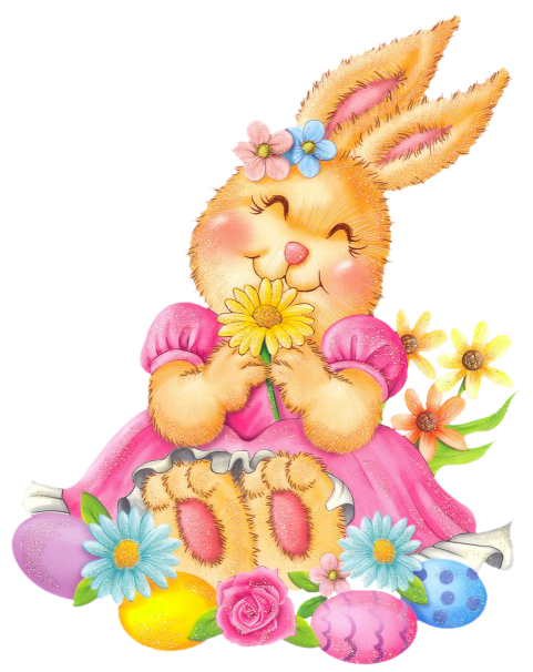 Easter Bunny with Eggs and Flowers PNG Clipart.
