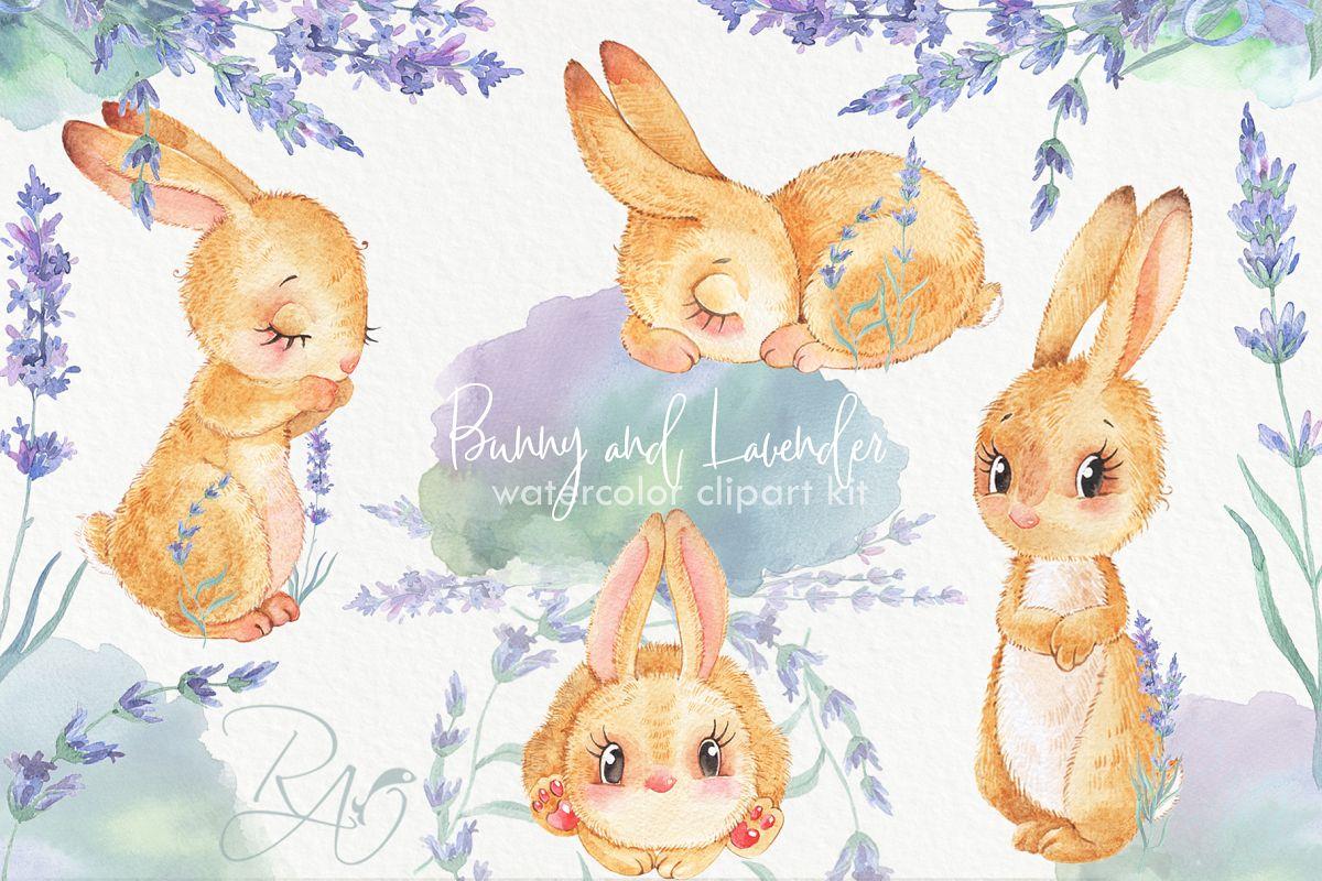 Cute watercolor bunny rabbit lavender flowers clipart kit.