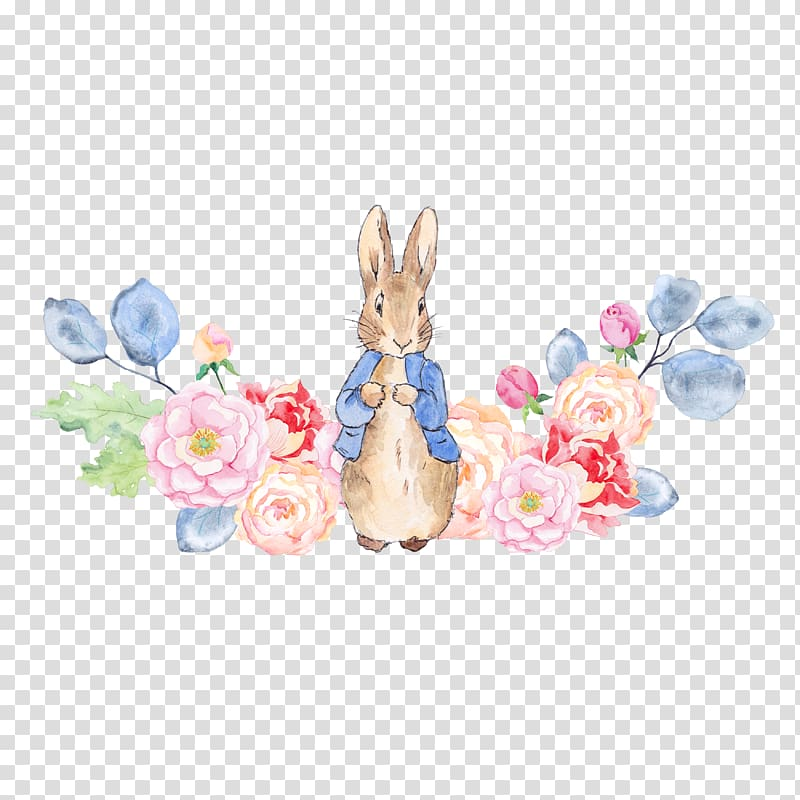 The Tale of Peter Rabbit , Rabbit and flowers, brown rabbit.