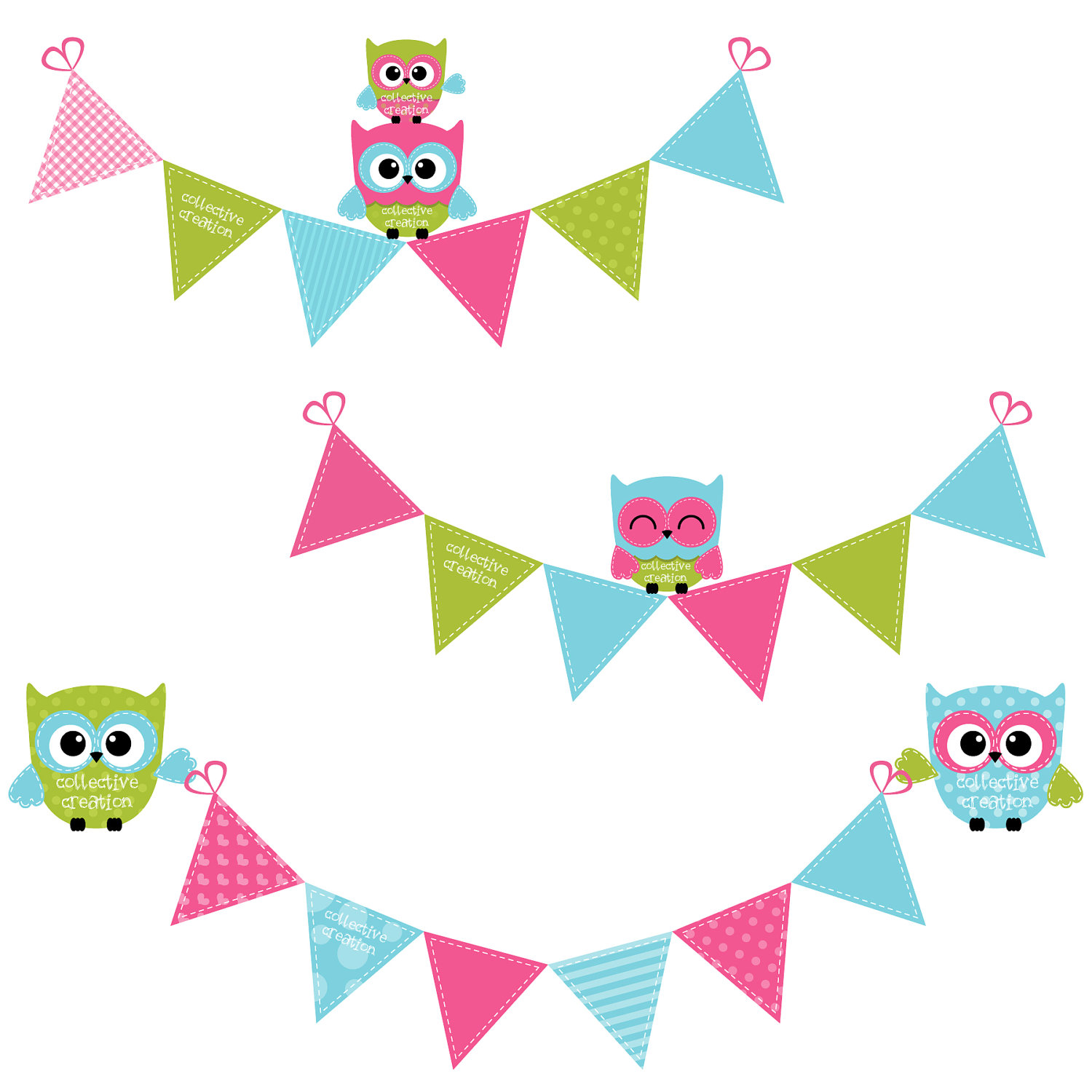 Pastel Bunting Clipart.