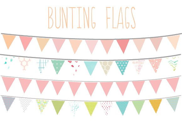 Bunting Flags Clip Art ~ Illustrations on Creative Market.