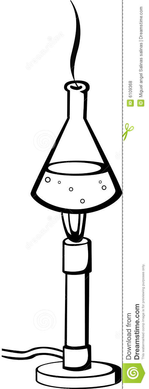 Bunsen Burner Heating Flask With Chemical Vector Royalty Free.