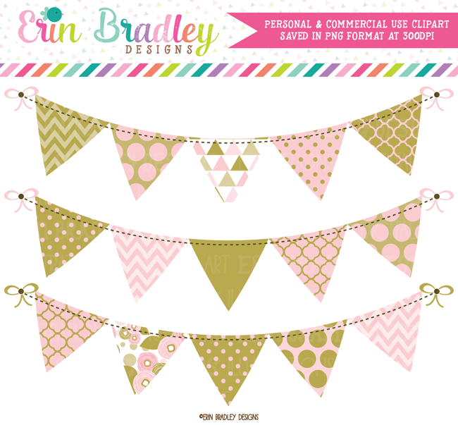 Pink and Gold Bunting Clipart.