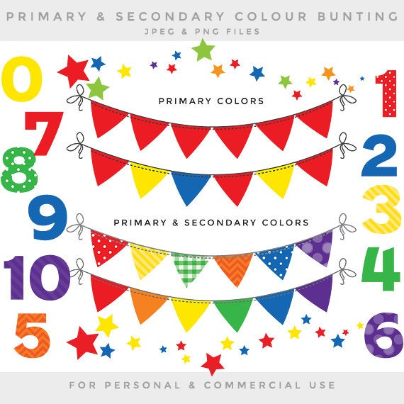 Bunting clip art numbers bunting banner flags clipart for digital  scrapbooking flags decorative primary colors colours red green blue yellow.