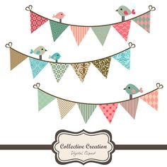 Pink, Green & Brown Bunting Clip Art Set.