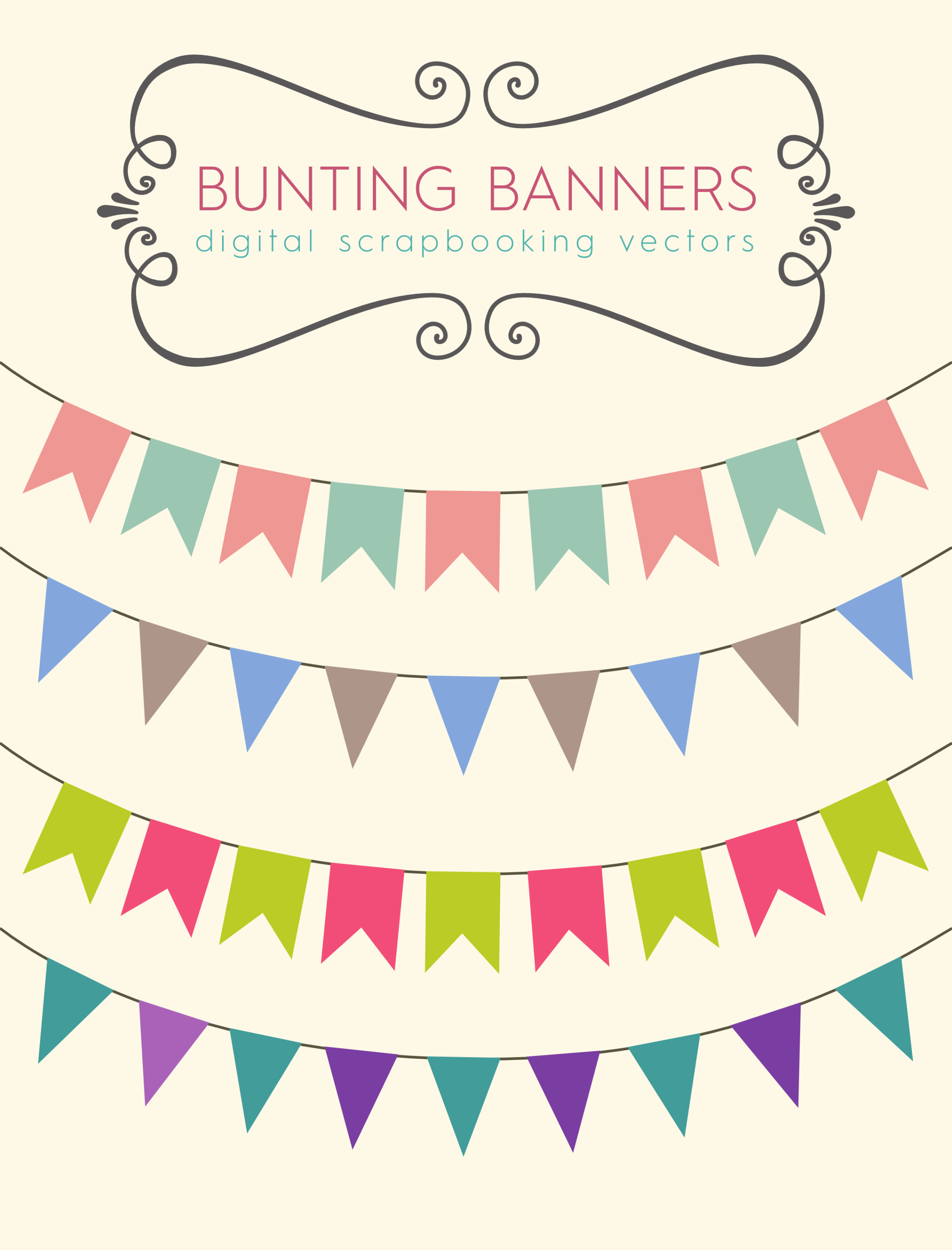 scrapbook, bunting, royalty free images, vector file, free.