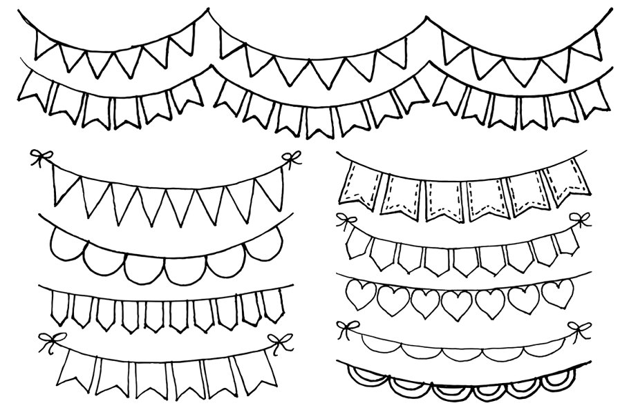 Hand Drawn Bunting Clipart ~ Illustrations ~ Creative Market.