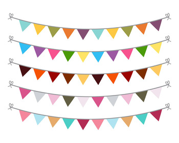 Bunting Clipart, Bunting Banner Graphics, Garland Clipart, Bunting SVG,  Birthday.