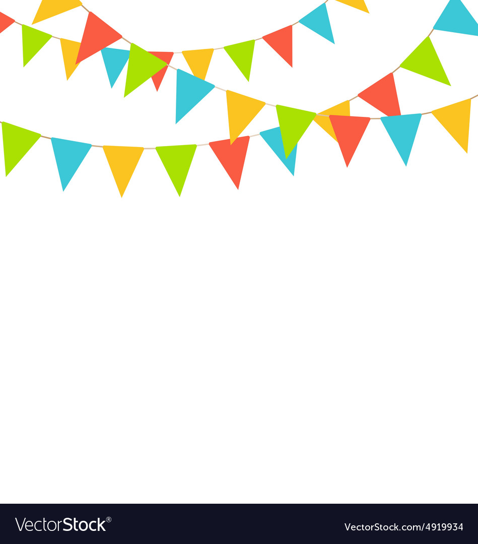 Multicolored bright buntings flags garlands.