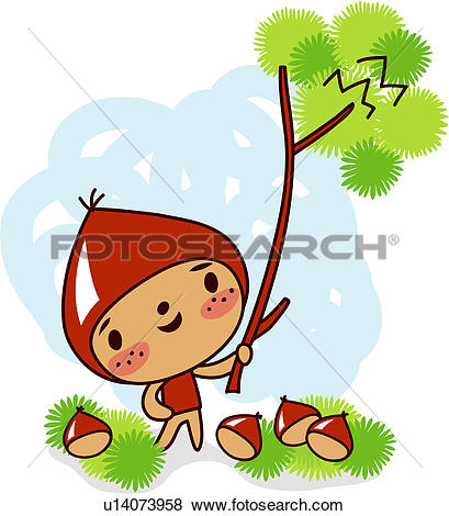 Clip Art of picking, chestnut tree, tree stick, holding, chestnut.