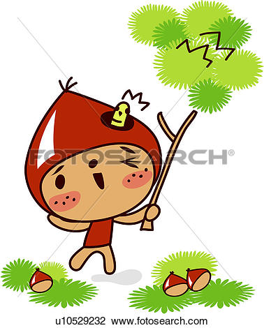 Clipart of nut, chestnut bur, plants, plant, smile, character.