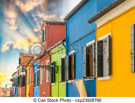 Stock Illustration of Colourful homes of Burano, Venice.