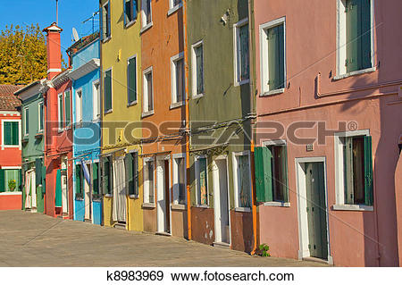 Stock Photograph of Color houses at island Burano k8983969.