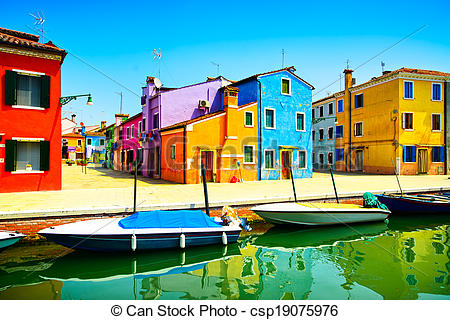 Picture of Venice landmark, Burano island canal, colorful houses.