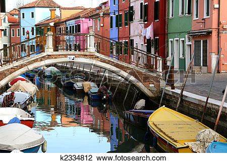 Stock Photo of Traditional view of Burano (Venice, Italy). Colored.