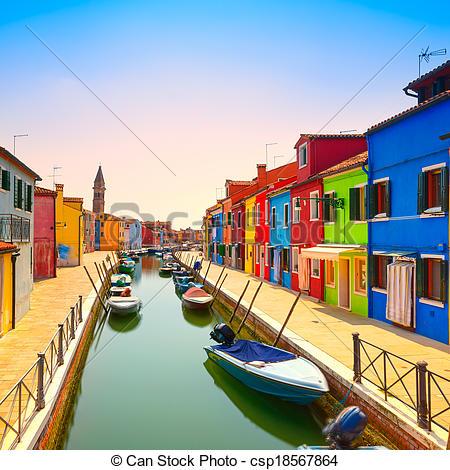 Stock Image of Venice landmark, Burano island canal, colorful.