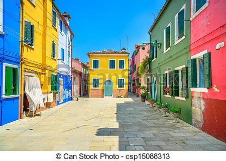 Stock Photography of Venice landmark, Burano island street.