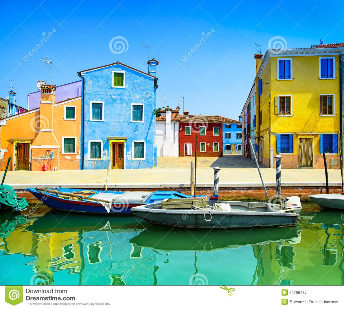Venice Landmark, Burano Island Canal, Colorful Houses And Boats.