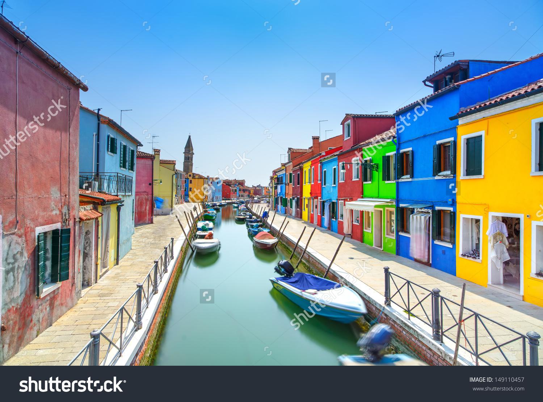 Venice Landmark Burano Island Canal Colorful Stock Photo 149110457.
