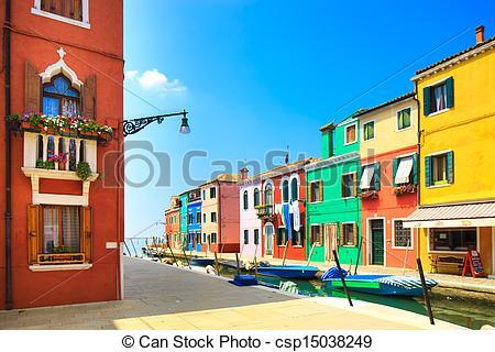 Stock Photo of Venice landmark, Burano island canal, colorful.