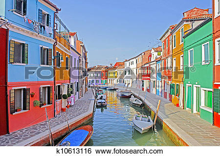 Stock Images of Venice, Burano island canal, small colored houses.