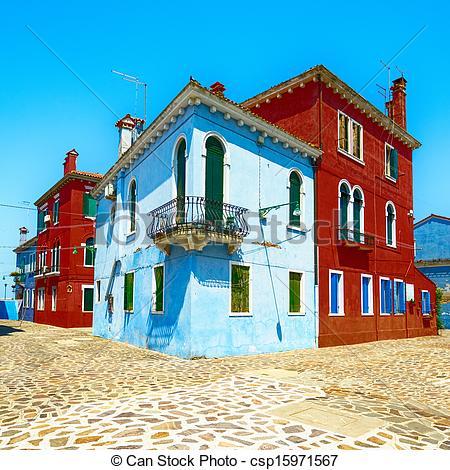 Stock Image of Venice landmark, Burano island street, colorful.
