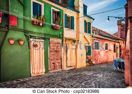 Pictures of Colour houses on Burano island, province of Venice.
