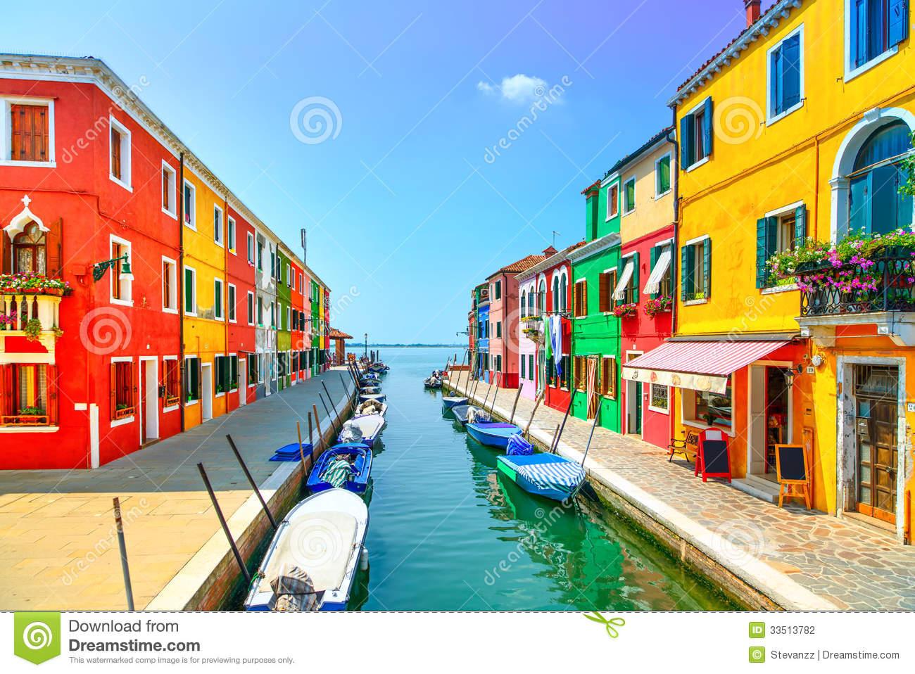 Venice Landmark, Burano Island Canal, Colorful Houses, Church And.