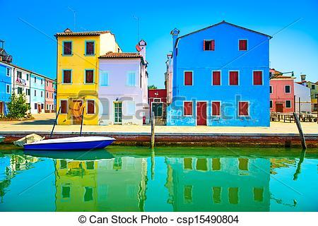 Stock Photography of Venice landmark, Burano island canal.
