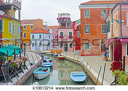 Stock Photo of Venice, Burano island canal, small colored houses.